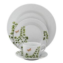 Gibson Woodland Fern 20-Piece Dinnerware Set - Whether to eat off of them or simply display them — that's the only problem with these beautiful dishes.