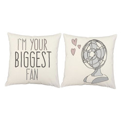 RoomCraft - Biggest Fan Throw Pillows 16x16 White Cotton Cushions - FEATURES:
