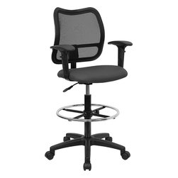 Flash Furniture - Mid-back Mesh Drafting Stool with Gray Fabric Seat and Arms - If you're in need of a comfortable chair with a breathable mesh back this is the chair. The modern design of the back will add a contemporary look to your office space. This chair is height adjustable to adapt to your working environment.