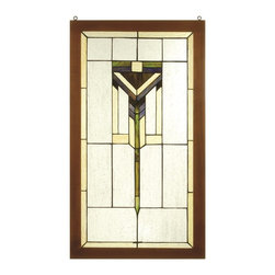 Meyda Tiffany - Meyda Tiffany 98099 Prairie Wooden Framed Window - This simple and handsome Prairie pattern of Avocado Green, Bark Brown and Wispy Beige adorn a Clear seedy glass window. The window is handcrafted utilizing the copperfoil construction process and 59 pieces of stained art glass encased in a wood frame. Mounting bracket and chain are included.