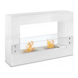 "Ignis - Tectum White - Freestanding Ethanol Fireplace - Measurements: 47.1"" x 31.5"" x 11""."