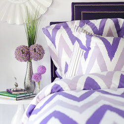 Zicci Bea - Mia Duvet Bedding Set - The effortlessly chic Mia bedding set combines pinstripes and chevron for one contemporary look. With its exciting mix of patterns and vibrant purple colorway, this ensemble invigorates a master bedroom or guest room. Available in twin, full, queen and king; 220-thread-count; Oeko-Tex certified 100% cotton sateen; Set includes: purple and white zig zag duvet cover with hidden button closure; 1 or 2 purple and white zig zag shams; purple, white and greige pinstripe fitted sheet; 1 or 2  purple, white and greige pinstripe pillowcases; Machine wash warm, tumble dry low.