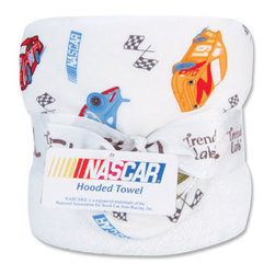 """Trend Lab - Bouquet Hooded Towel - NASCAR - Trend Lab's NASCAR Hooded Towel will keep your baby warm and dry after bath time. The white terry towel features a cotton percale race car and checkered flag scatter print throughout the hood and trim in red hot, cornflower blue, sky blue, mango orange, olive and charcoal on a white background. Hooded towel measures 32"""" x 30"""". NASCAR is a registered trademark of the National Association for Stock Car Auto Racing, Inc."""