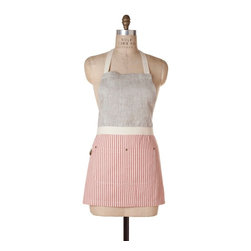 Birdkage - Brittany Mini Combo Bib Apron, Red - So chic, why confine it to the kitchen? Classic French ticking stripes are paired with demure oatmeal linen in a pleasing A-line cut that runs a little shorter in length, but is roomy around the sides, for a flattering fit every time. The front pockets are accented with blue jean rivets, and the apron comes in a reusable muslin drawstring bag.