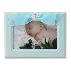 Lawrence Frames - 4x6 Blue Wood Picture Frame with Blue Ribbon - Elegant 4x6 slightly distressed powder blue wood picture frame with blue ribbon and jewel adorned decorative ornament.   High quality black wood backing with easel for table top display.  Individually boxed.