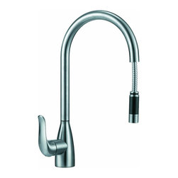 BOANN - BOANN Chloe (BNYKF-C25S) 16.7 Inch 304 Stainless Steel Pull- Out Kitchen Faucet - The BOANN Chloe kitchen faucet is an elegant choice for kitchens that possess modern decor and accessories. Made from solid stainless steel, the Chloe kitchen faucet, like all Boann faucets, produces lead-free water and is constructed for longevity. This faucet features a full rotating spout, lightweight pulldown handle and a durable pull-out steel hose. Using t304 grade material is more expensive than other grades because it is a higher quality, which is also why it is more durable. This premium grade of stainless steel is generally used in equipment that requires more strength and durability like in cars and machines. Unlike other faucets, 304 stainless steel material is 100% lead free. The BOANN Flor faucet includes the installation accessories, Hot and Cold water lines and installation instruction manual.