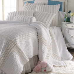 "Dena Home - Dena Home King Ruffle Quilt, 104"" x 90"" - Frothed with rows of ruffles, this all-cotton bed linens ensemble is from Dena Home. Please select color when ordering. Imported. Dust skirts have an 18"" drop. Spot clean pillows; machine wash linens. 200-thread-count white cotton ""Embroidered Hem"" s..."