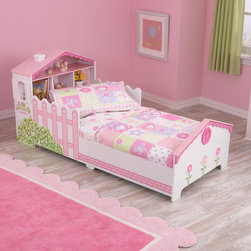KidKraft - Dollhouse Cottage 4-piece Toddler Bedding Set - This adorable bedding set adds a brand new layer of fun and excitement to any young child's bedroom. This set includes a reversible comforter,a flat sheet,a fitted sheet and a pillow case in one convenient package.