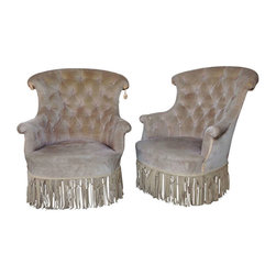 Pair of French 19th Century Tufted Armchairs - France, 19th Century