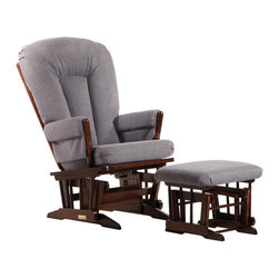 Dutailier - 2 Post Glider and Ottoman Set in Dark Grey - Matching gliding ottoman included. Dutailier's exclusive gliding system with top quality sealed ball bearings. Hardwood frame in coffee finish. Removable foam cushions and padded arms. 100% Polyester Wool-like Fabric in Dark Grey. Easy to assemble. Glider: 26 in. W x 31 in. D x 43 in. H. Ottoman: 20 in. W x 18 in. D x 14.75 in. HThis Two Post glider and ottoman combo offers an exceptionally smooth and extra long glide motion with thick cushions and padded arms. It will be the perfect addition to your childs nursery or living room. There are no sharp edges, the finish is toxic free and this product meets all safety standards.