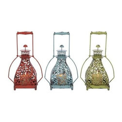 "Benzara - Metal Candle Holder 3 Assorted with Vibrant Colors - Metal candle holder 3 assorted with vibrant colors. Its colorful shade oozes royalty that brings out the best of the metal work from this set. It comes with following dimensions 9 "" W x 6 "" D x 15 "" H. 9 "" W x 6 "" D x 15 "" H. 9 "" W x 6 "" D x 15 "" H."