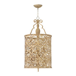 Frederick Ramond - Fredrick Ramond Carabel 15 in. 6-Light Foyer - Carabels flourishing pierced metalwork creates a stunning artistic design in a luxurious Brushed Champagne finish. The elegant scroll detail  inset ivory linen shades and etched diffusers add to the beauty of this collection.
