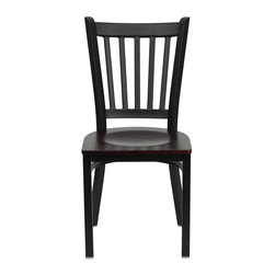 Flash Furniture - Flash Furniture Hercules Series Black Back Metal Chair in Mahogany - Flash Furniture - Dining Chairs - XUDG6Q2BVRTMAHWGG - Provide your customers with the ultimate dining experience by offering great food service and attractive furnishings. This heavy duty commercial metal chair is ideal for Restaurants Hotels Bars Lounges and in the Home. Whether you are setting up a new facility or in need of a upgrade this attractive chair will complement any environment. This metal chair is lightweight and will make it easy to move around. This easy to clean chair will complement any environment to fill the void in your decor. [XU-DG-6Q2B-VRT-MAHW-GG]
