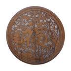 Golden Lotus - Chinese Round Four Seasons Fok Character Wood Panel - Chinese Round Four Seasons Fok Character Wood Panel