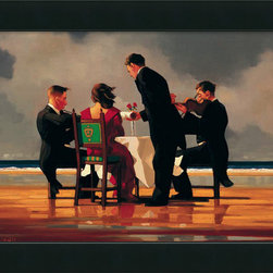"Amanti Art - ""Elegy for a Dead Admiral"" Framed Canvas by Jack Vettriano - This haunting image of a woman sitting at a formally set table on a beach, with violinists playing next to her, was painted by Jack Vettriano. If you enjoy elegant artworks with a touch of the surreal, this work would be a fitting addition to your living room. The giclée print on 100 percent cotton canvas comes framed, with a hanging wire for easy installation, so you can enjoy it immediately. Made in the USA."
