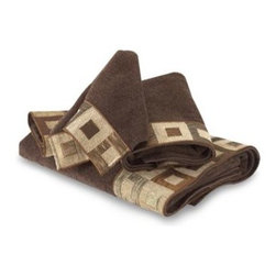 Avanti - Avanti Precision Hand Towel in Mocha - A soft sheared velour in a rich mocha is the backdrop for a perfect pattern of geometric squares in shades of chocolate, bronze and beige.