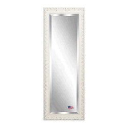 Rayne Mirrors - American Made French Victorian White 26 x 64 Full Body Beveled Mirror - Add some romantic reflection to you decor with this distressed ivory, French Victorian style full length mirror.   The carved detailing and  old time worn white finishes wonderfully replicates design from the Victorian era.  Perfect to hang or lean. Each Rayne mirror is hand crafted and made to order with American products.  All hardware included for vertical or horizontal hanging, or perfect to lean against a wall.