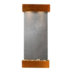 Inspiration Falls Wall Fountain, Rustic Copper, Black Featherstone, Square Frame - The Inspiration Falls Wall Fountain is a centerpiece of serenity and beauty of nature that is perfect for your home or office. It exudes an experience of being one with nature within your own workplace or living room.
