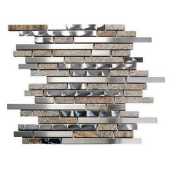 Tilesbay.com - 1 Pieces of 12x12 Interlocking Blend Oddysey Qyarry Stainless Steel Tile - Stainless Steel and Brown Stone Interlocking Blend Mosaic
