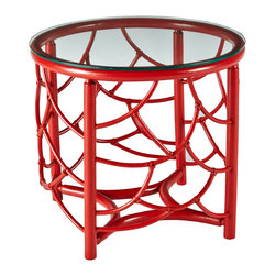 Selamat Designs - DOT Table, Antique Red, Side Table - Pole rattan delicately bent and mitered to create layered shapes mimicking feathers, with tempered glass top.