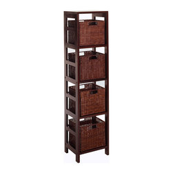 Winsome - Leo 5pc Storage Shelf with Basket Set, Shelf with 4 small baskets - With its classic, sturdy design, this elegant shelving unit fulfills both style and functional requirements. Its 4 sections hold the Espresso Small Storage Basket perfectly. Mix and match with the other Espresso Storage Shelves. Total 3 boxes. Carton size of Shelf =>