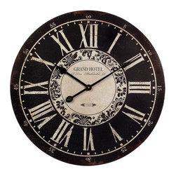 iMax - iMax Hotel Wall Clock X-15061 - Black and White, Grand Hotel wall clock