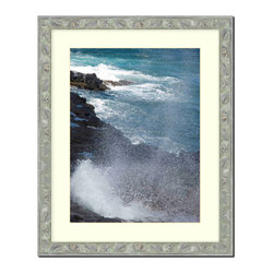 """Frames By Mail - Wall Picture Frame Moss Green Silver with an acid-free white matte, 8x10 - This 8X10 1.25"""" wide moss green silver picture frame is imported from Italy.  The back side of the frame is black. The white matte can be removed to accommodate a larger picture.  The frame includes regular plexi-glass (.098 thickness) foam core backing and can hang either horizontal or vertical."""
