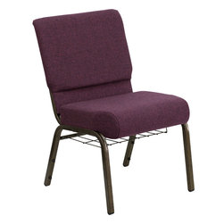Flash Furniture - Hercules Series 21'' Extra Wide Plum Church Chair With 4'' Thick Seat - Gold Vei - This HERCULES Series Church Chair will add elegance and class to any Church, Hotel, Banquet Room or Conference setting. If you are looking for a chair with comfort and style that is easy to move and stores away with ease, then look no further. This built to last chair has a 16-gauge steel frame that has been tested to hold 800 lbs. This church chair features double support bracing, ganging clamps, a cushion that graduates to a 5'' thick waterfall edge and plastic floor glides to protect non-carpeted floors. Our church chair is manufactured by one of the most reputable stack chair manufacturers in the industry, you can be assured of the quality of this chair offered to you.