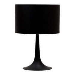 "LexMod - Silk Table Lamp in Black - Silk Table Lamp in Black - Discover rounded contours and minimalist lines with the sleek and contemporary Silk Table Lamp. Stay focused on precision as your room is recalibrated to the most inspired degrees of luminescence. Sustains your room's light while fading away sharp edges with a slender and versatile lamp true to its name.br /Set Includes:br /One - Silk Table Lamp Contemporary lighting for all occasions, Glare-reducing diffuser, Full range dimmer, Made of powder coated steel, Rounded shade, Sturdy tapered pedestal base Overall Product Dimensions: 15""L x 15""W x 25""H Cord Length: 39""L - Mid Century Modern Furniture."