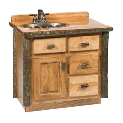 Fireside Lodge Furniture - Hickory Log Vanity (30 in. w/o Top - Center - Finish: 30 in. w/o Top - Center - Rustic AlderHickory Collection. 4 Drawers. Storage cabinet. Dovetailed drawers are inset for added beauty and quality. Full-extension ball-bearing glides rated at 100 pounds. All Hickory Logs are bark on and kiln dried to a specific moisture content. Clear coat catalyzed lacquer finish for extra durability. 2-Year limited warranty. Without top: 30 in. W x 21 in. D x 32.25 in. H (80 lbs.). With top: 30 in. W x 21 in. D x 33 in. H (95 lbs.). Without top: 36 in. W x 21 in. D x 32.25 in. H (105 lbs.). With top: 36 in. W x 21 in. D x 33 in. H (130 lbs.)