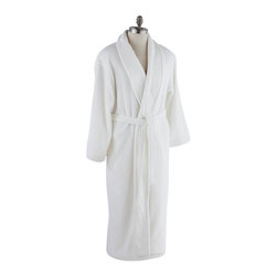 Coyuchi® - Coyuchi® Organic Mens Grand Velour Robe, Small - Like the grandest spa wrap, this orgnic velour robe from Coyuchi is a sumptuous pairing of plush terry on the inside and silky velour outside. Cozy enough to wear straight from the bath, the organic cotton is also light enough to drape over pajamas. Velour shawl collar. Two side-seam pockets, self-belt and twill binding.