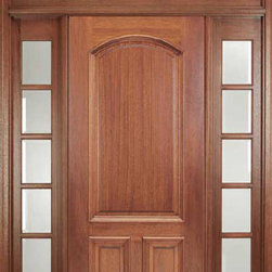 "Ridgecrest mahogany entry door with sidelights and transom. - Nothing welcomes you home like a finely crafted wood entry door.  Our Ridgecrest door is shown here constructed of high grade mahogany with engineered components for a lifetime of security, protection from the elements and great styling.  It is available in a variety of wood species like American Cherry, Chestnut, Walnut, or Alder.  The neutral-shade wood tone allows for your choice of stain color or simply clear coat the natural color of the wood.  It features heavy raised panels and moulding on the exterior, dowel pin construction, and is handcrafted in the USA.  It is available as a door slab only or as a pre-hung door unit with one or two sidelights (full-lite, 3-lite or 5-lite) with or without your choice of transom.  The Ridgecrest comes in standard 36"" x 6'8"" or 8'.  Many custom options are available."