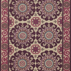 Momeni - Contemporary Suzani Hook 5'x8' Rectangle Purple Area Rug - The Suzani Hook area rug Collection offers an affordable assortment of Contemporary stylings. Suzani Hook features a blend of natural Purple color. Hand Hooked of 100% Wool the Suzani Hook Collection is an intriguing compliment to any decor.
