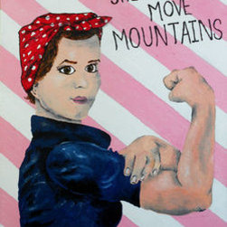 Women'S Rights (Original) By Kayla Domaszek - I was truly inspired by what the women before our generation have done.   I felt that there was no better way to portray my appreciation towards them than in the form of art.  This acrylic on canvas shows Rosie the Riverter strutting her muscles,  great for anyone!