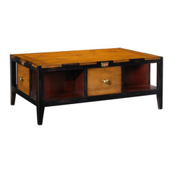 French Heritage - Draper's Coffee Table, Black Red and Light Cherry Finish - Handsome is as handsome doesand this coffee table does it all with informal ease. The distinctive design of four drawers and four shelves provides all-around interest, with the added benefits of clutter control and display space. - Four Drawers.- Four Shelves.- Maple. - Weight: 110lbs