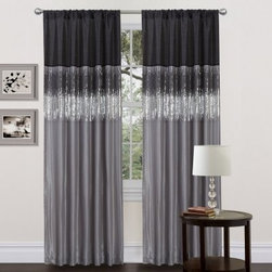Triangle Home Fashions Night Sky Black / Gray Window Curtain Set - Your home will be shimmering with style with the Triangle Home Fashions Night Sky Black / Gray Window Curtain Set hanging around. This 100% polyester set is all chic with its muted colors and shining sequins. This set is sure to be the envy of all your guests at that next cocktail party. Dry clean only.