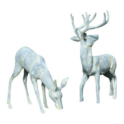 "SPI - Large Verdi Aluminum Deer Couple for the Garden - -Size: 26"" H x 19"" W x 12"" D"