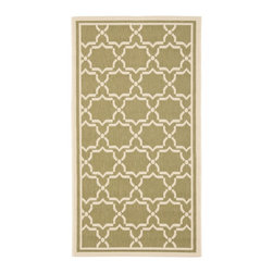 Safavieh - Safavieh Courtyard Rug with Green / Beige X-3-442-6196YC - Safavieh takes classic beauty outside of the home with the launch of their Courtyard Collection. Made in Turkey with enhanced polypropylene for extra durability, these rugs are suitable for anywhere inside or outside of the house. To achieve more intrica