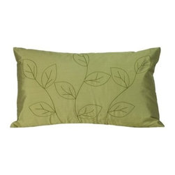 Jiti Leaves Sage Rectangle Pillow - A beautiful leaf pattern adorns the Jiti Leaves Sage Rectangle Pillow and provides a great complement to your bedroom decor. This pillow's cover material is 100% silk giving it a luxurious look and feel and its down-filled insert is soft and comfortable.About Jiti Pillows:Jiti has a wide range of bedding and accent pillow products so you're sure to find the perfect complement for your home decor in their line. The company is based in Los Angeles California and all of their products are proudly made in America. Using luminous colors rich patterns and varied textures Jiti creates products that can help you give your room an exotic makeover in minutes. Goga Bouquet Jiti's designer gets her inspiration from her Argentine heritage and her fascination with Indian culture. The result is beautiful exotic pieces that still have a modern feel.