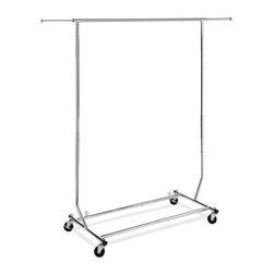 Whitmor - Commercial Garment Rack Rolling - Whitmor Folding Commercial Garment Rolling Rack