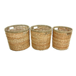 Oriental Furniture - Rush Grass Round Waste Bin ( Set of 3 ) - This set of three hand woven waste bins offer a multitude of uses. The sturdy rush grass and metal construction make them strong and durable. Use one as a waste bin and the other two as storage for toys or laundry.