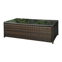 Crosley - Palm Harbor Outdoor Wicker Glass Top Table - Lounge around on our elegantly designed all-weather wicker furniture. Finely crafted with intricately woven wicker over durable aluminum frames, this timeless wicker piece provides lasting comfort and style. Let your worries fade away as you doze off in our UV/fade resistant cushions.