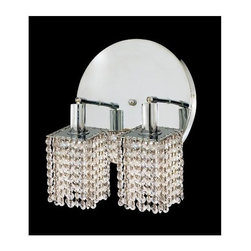 Elegant Lighting - Mini Clear Crystal Sconce w 2 Lights in Chrome (Elegant Cut) - Choose Crystal: Elegant Cut. Bulbs not included. Crystal Color: Crystal (Clear). Chrome finish. Number of Bulbs: 2. Bulb Type: GU10. Bulb Wattage: 55. Max Wattage: 110. Voltage: 110V-125V. Assembly required. Meets UL & ULC Standards: Yes. 9 in. D x 13.5 in. H (6lbs.)Description of Crystal trim:Royal Cut, a combination of high quality lead free machine cut and machine polished crystals & full-lead machined-cut crystals..SPECTRA Swarovski, this breed of crystal offers maximum optical quality and radiance. Machined cut and polished, a Swarovski technician¢s strict production demands are applied to this lead free, high quality crystal.Strass Swarovski is an exercise in technical perfection, Swarovski ELEMENTS crystal meets all standards of perfection. It is original, flawless and brilliant, possessing lead oxide in excess of 39%. Made in Austria, each facet is perfectly cut and polished by machine to maintain optical purity and consistency. An invisible coating is applied at the end of the process to make the crystal easier to clean. While available in clear it can be specially ordered in a variety of colors.Not all trims are available on all models.
