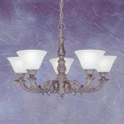 Toltec Lighting - Bronze Finish 5 Light Uplight Chandelier with White Marble Glass - 5 medium base 60 watt bulb(s) (not included).