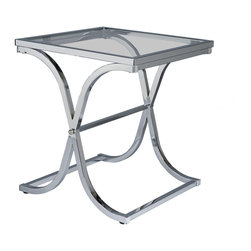 Holly & Martin - Roxburgh End Table, Chrome - Let this pretty little end table balance your cocktails in class. A curvy, criss-cross metal base offers sturdy, stylish support for the inlaid glass tabletop. Available with a rubbed metal finish that reveals glimpses of shiny copper, or black or chrome to match your decor.