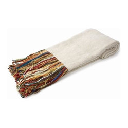 Belle & June - Linen Mohair Throw - Let it all hang out with this eclectic throw that is just as cool as it is cozy. Made from recycled yarn in angora fashion, this fine fabric with its vibrant, multicolored fringe will fit into your home décor while making a bold statement with bohemian style.
