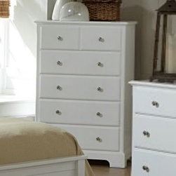 Homelegance - Homelegance Morelle 5 Drawer Chest in White - The warmth of cottage living is invoked by the classic styling of the Morelle Collection. The collection is designed with many features perfect for today s casual lifestyle such as a low post bed with simple picture framing and round finials plus molded drawer fronts and satin nickel knobs on the case pieces. The addition of a pull out trundle and toy box offerings further the functionality of the collection. The ability to choose from twin  full  queen  California king and Eastern king bed sizes makes this group perfect for youth bedrooms  guest bedrooms or master bedrooms. Adding to the versatility are two distinct painted finishes  black and white.