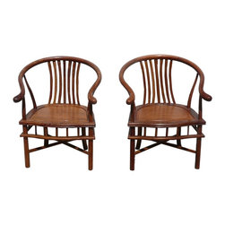 Golden Lotus - Pair Chinese Yellow Rosewood Horseshoe Back Armchairs - This is a pair of hand made modern fusion horseshoe shape armchairs. They have nice yellowish brown natural wood color and pattern. It has the combination of the traditonal horseshoe shape arch back and modern zen simple style legs design.