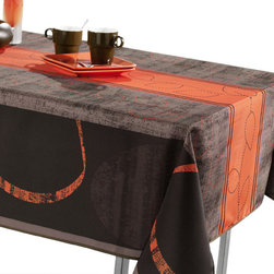 My Jolie Home - Modern Orange Tablecloth, 95x58 - Impress your guests with this modern orange and brown Spill-proof tablecloth. Our tablecloths are made of woven polyester, and are designed to be durable, wrinkle and stain resistant, and can be laundered countless times.