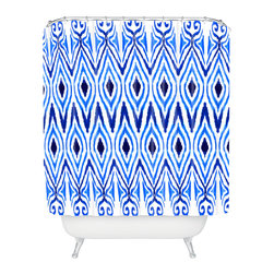 DENY Designs - Amy Sia Ikat Blue Shower Curtain - Who says bathrooms can't be fun? To get the most bang for your buck, start with an artistic, inventive shower curtain. We've got endless options that will really make your bathroom pop. Heck, your guests may start spending a little extra time in there because of it!